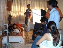 During a short film shoot